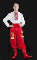 Український чоловічий національний костюм з сорочкою з нашитим орнаментом та поясом №2(42-58р.)