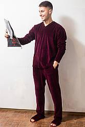 Пижама мужская теплая домашняя комплектс длинным рукавом велюровая, бордовая