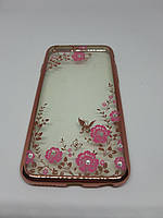 Прозрачный силиконовый чехол-накладка Floveme с принтом для iPhone 6/6s розовый