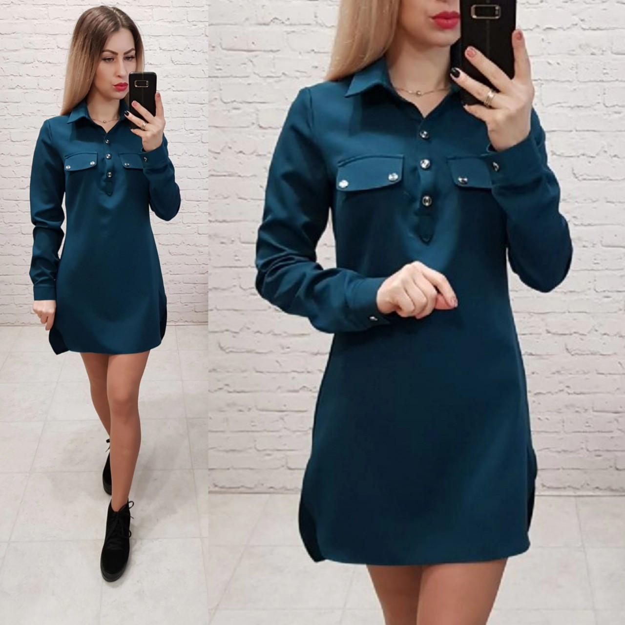 Сукня-сорочка, креп, модель 825, в 6-ти кольорах