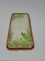 Прозрачный силиконовый чехол-накладка Floveme с принтом для iPhone 6/6s зеленый