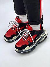 Женские кроссовки в стиле Balenciaga Triple S Black Red Черно-красные, фото 3
