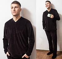 Пижама мужская теплая домашняя комплектс длинным рукавом велюровая, коричневая
