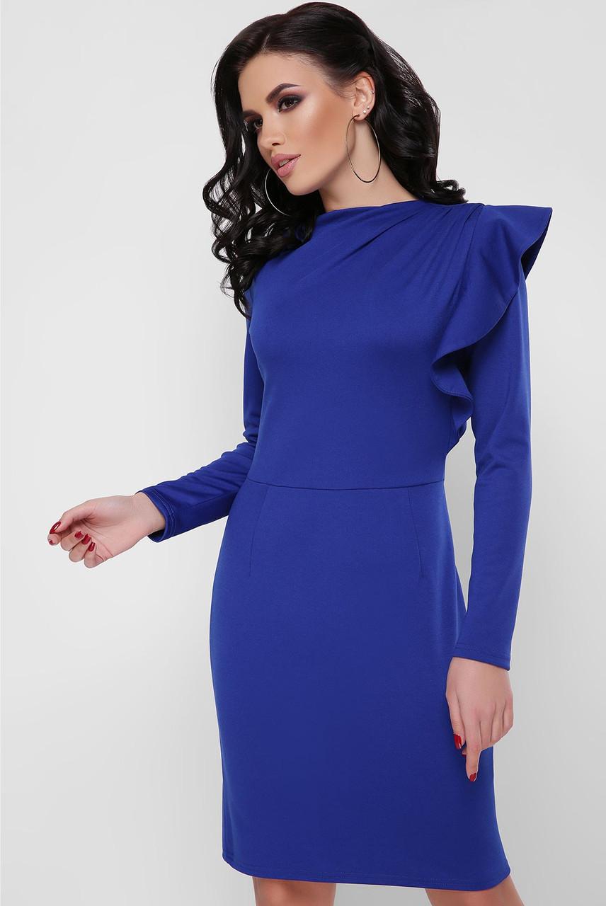 Синее платье с воланом, фото 1