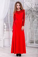 """Теплое длинное вечернее платье из жаккардового трикотажа """"фукра"""" с цветочным узором, р.44-46;46-48  код  2570М"""