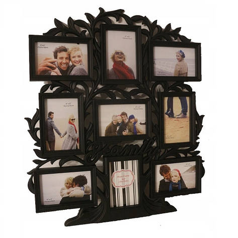 Фоторамка-коллаж на 9 фото, дерево Family, пластик, черный, фото 2