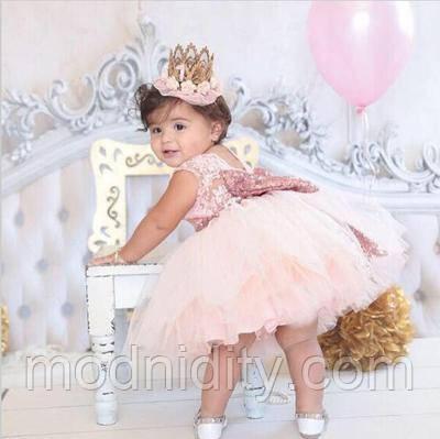 ec2e4df62625ed9 Детское пышное нарядное платье с бантом для девочки