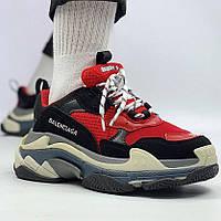 Мужские кроссовки в стиле Balenciaga Triple S Trainers Black Red Черно-красные