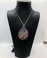 """Колье из серебра с кристаллами Swarovski """"Капля"""" 65 см"""