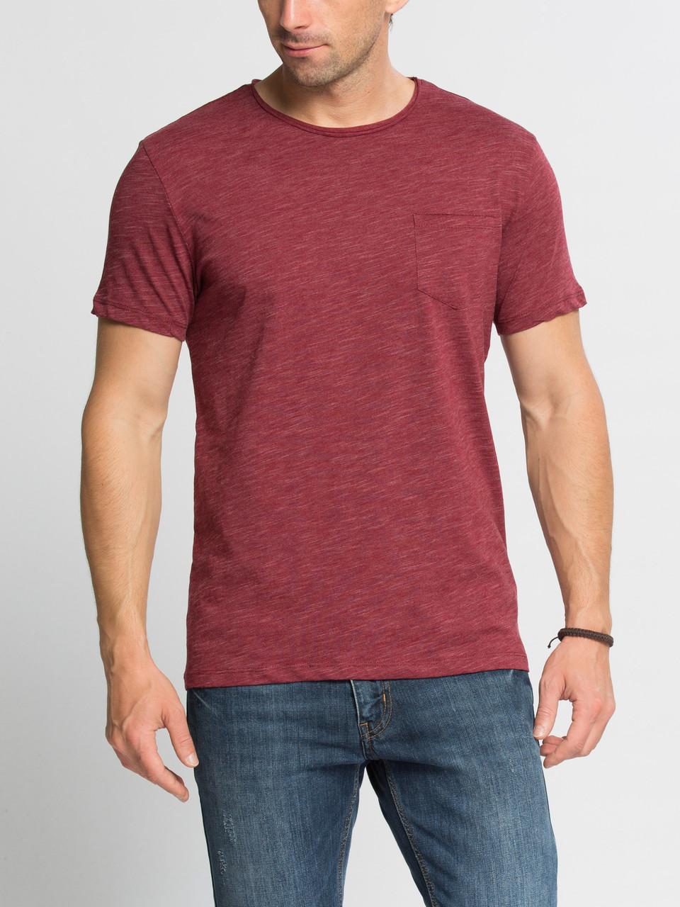 Бордовая мужская футболка Lc Waikiki / Лс Вайкики с карманом на груди