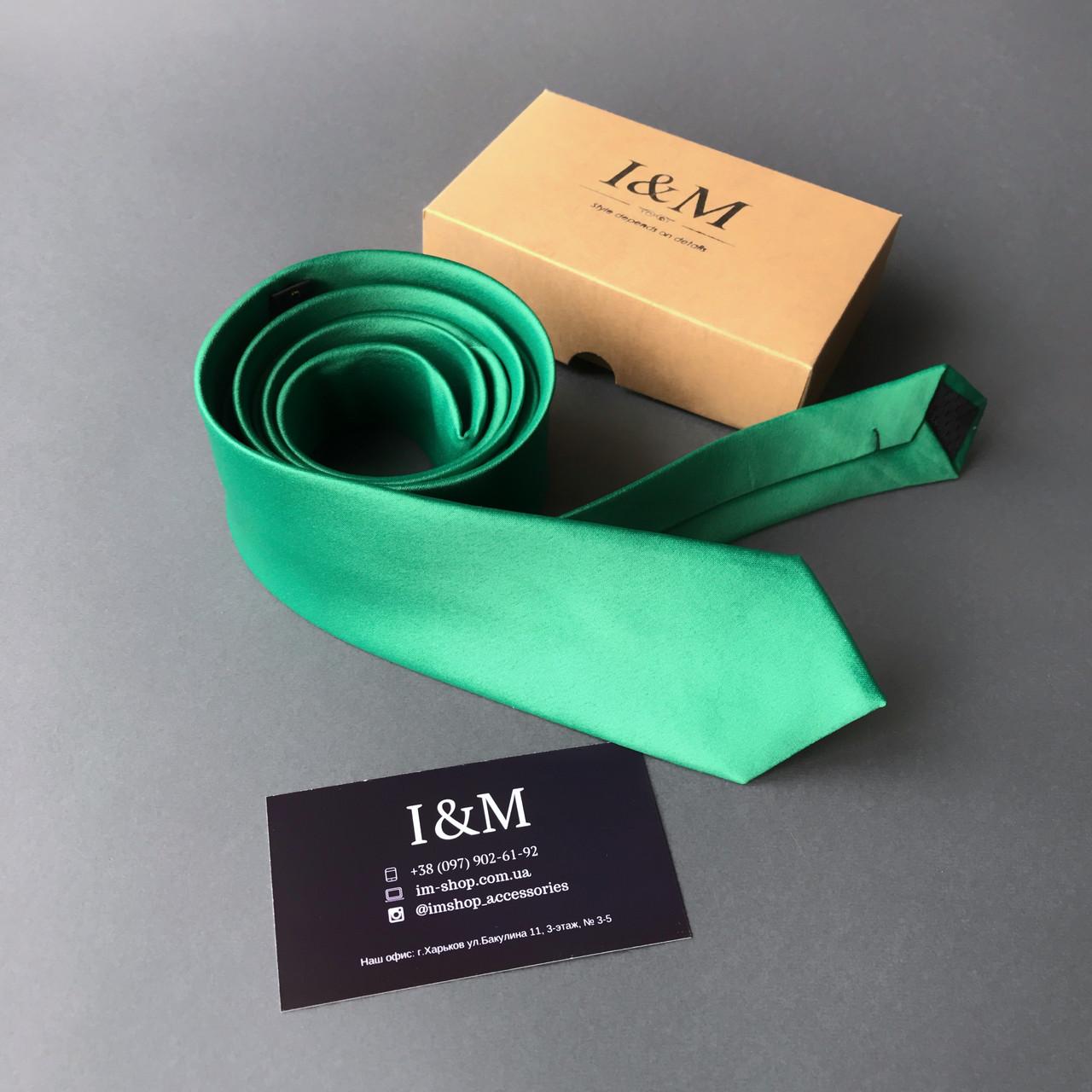 Галстук I&M Craft узкий изумрудный (020311)