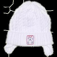 Детская вязаная шапочка на завязках, ТМ Мамина мода, р. 36, 38, 40, 42, Украина Хлопок, Мамина мода, 42 см., Весна/осень, 80% акрил, 20% хлопок,