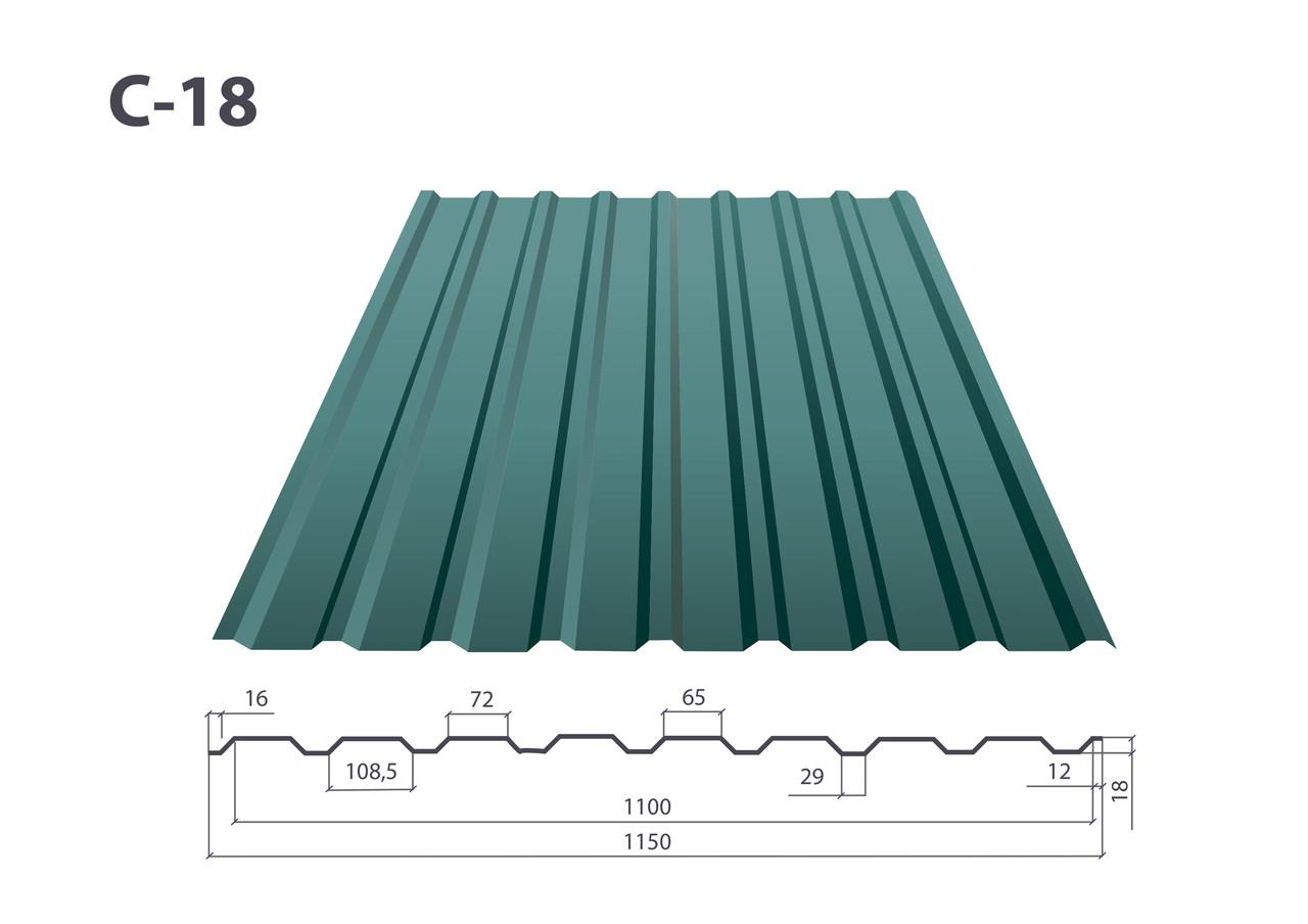 Профнастил С-18/К-18 полимер ( 0.4 мм)
