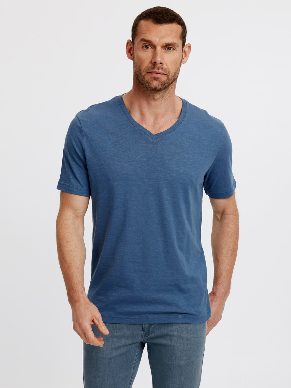 Голубая мужская футболка Lc Waikiki / Лс Вайкики с V-образным вырезом