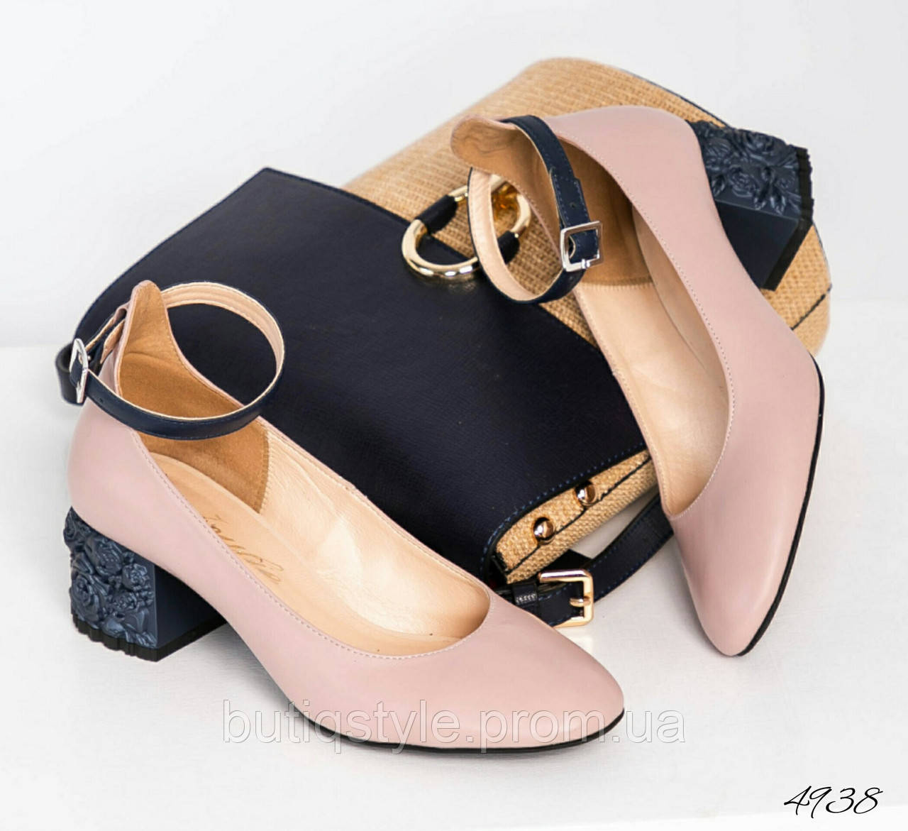 36 размер Красивые женские туфли пудра с красивым каблуком натуральная кожа
