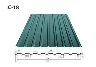 Профнастил С-18/К-18 полимер ( 0.5 мм)
