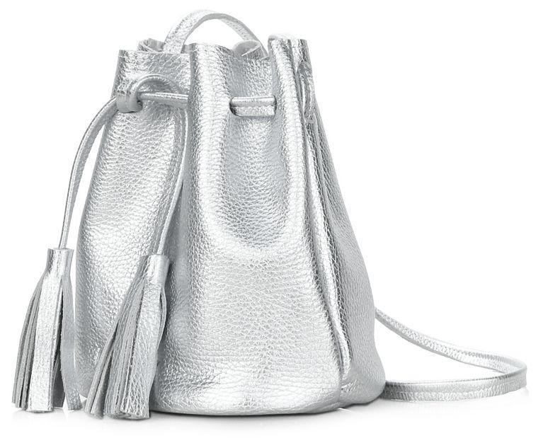 d84d4cf2f24c Кожаная сумка POOLPARTY bucket-silver серебряный - SUPERSUMKA интернет  магазин в Киеве