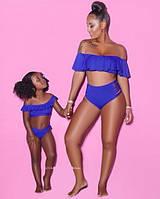 Женский раздельный купальник синий с рюшами высокая талия