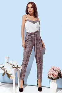 Женские брюки клетка с завышенной талией