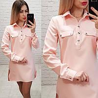 Платье-рубашка, креп, модель 825, цвет - пудра