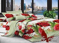 Двуспальный комплект постельного белья с Розами, Поликоттон