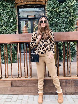 Костюм  женский вязаный штаны и кофта с принтом леопард, фото 2