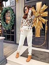 Костюм жіночий в'язаний штани і кофта з принтом леопард, фото 2