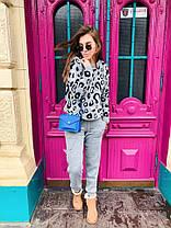 Костюм  женский вязаный штаны и кофта с принтом леопард, фото 3