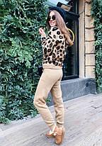 Костюм жіночий в'язаний штани і кофта з принтом леопард, фото 3