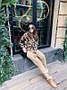 Костюм  женский вязаный штаны и кофта с принтом леопард, фото 4