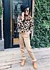 Костюм  женский вязаный штаны и кофта с принтом леопард, фото 6