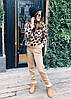 Костюм жіночий в'язаний штани і кофта з принтом леопард, фото 6