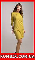 """Трикотажное платье прямого силуэта с """"молнией"""" и пуговицами   цвета - желтый, коралловый, фото 1"""