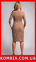 Классическое платье из плотной и эластичной креповой ткани | цвет - кофейный