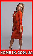 Классическое платье из плотной и эластичной креповой ткани | цвет - оранжевый, фото 1