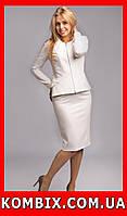 Элегантный костюм из крепового плотного трикотажа | цвет - белый, фото 1