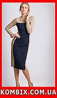 Удлиненное платье из плотного жаккардового трикотажа | цвет - темно-синий, фото 1
