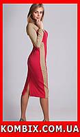 Удлиненное платье из плотного жаккардового трикотажа | цвет - коралловый, фото 1