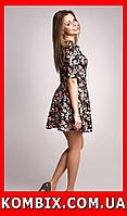 Летнее цветастое платье для девушек в темных тонах, фото 1