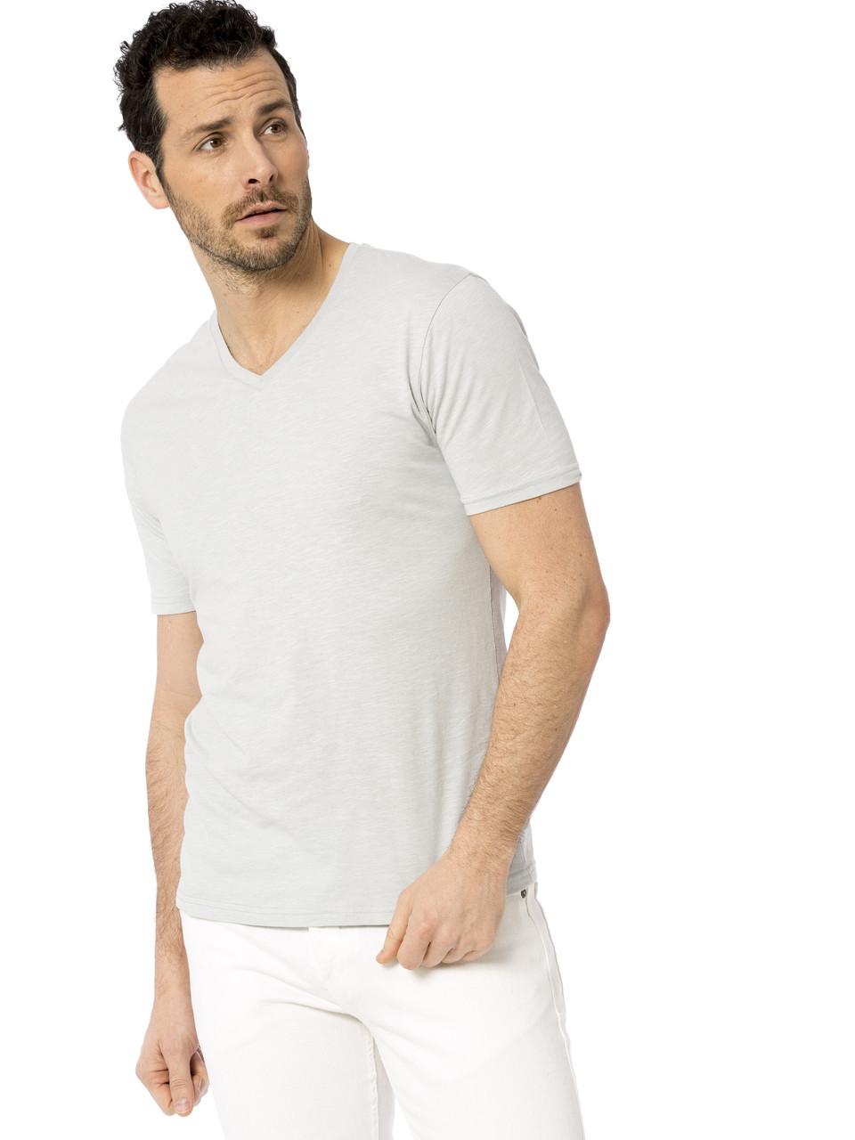 Серая мужская футболка Lc Waikiki / Лс Вайкики с V-образным вырезом