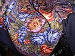 Ненаглядна 1025-14, павлопосадская шаль з ущільненої вовни з шовковою бахромою в'язаної, фото 5