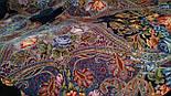 Ненаглядна 1025-14, павлопосадская шаль з ущільненої вовни з шовковою бахромою в'язаної, фото 7