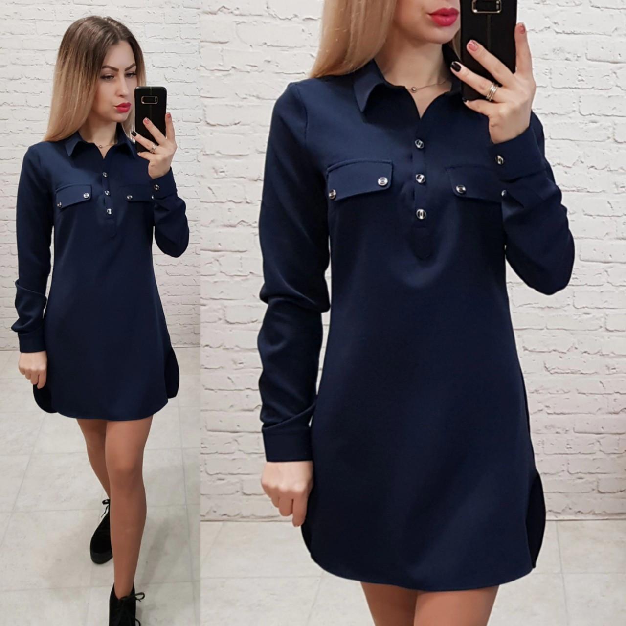 Платье-рубашка, креп, модель 825, цвет - темно синий