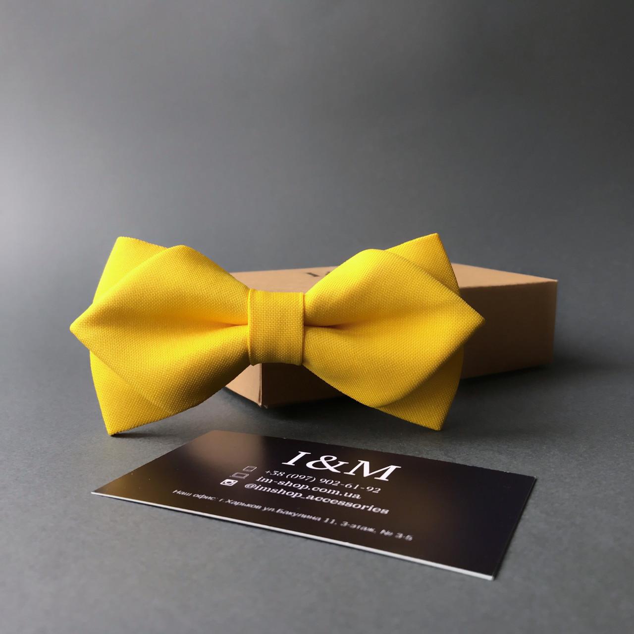 Краватка-метелик I&M Craft з гострими кінцями жовтий (100153N)