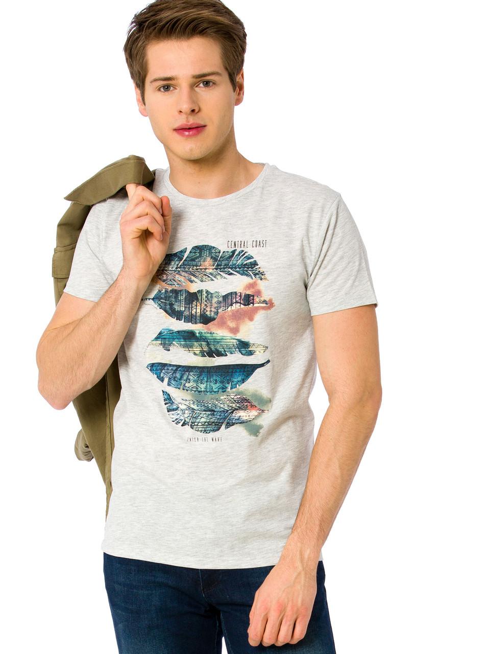 Серая мужская футболка Lc Waikiki / Лс Вайкики с перьями и надписью Central Coast