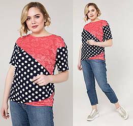 Гипюровая блуза женская нарядная блузка трикотажная летняя больших размеров (батал)
