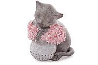 Декоративная фигурка Кошечка с цветами, 18 см, фото 1