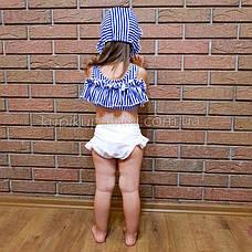 Купальник детский раздельный полосатый лиф белые плавки- 161-08, фото 2