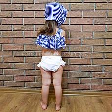 Купальник детский раздельный полосатый лиф белые плавки- 161-08, фото 3
