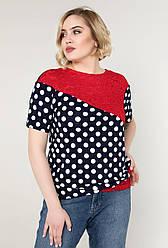 Гипюровая блузка женская нарядная блуза трикотажная летняя больших размеров (батальная)